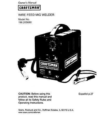 Craftsman 196.3205680 Mig Welder Owners Instruction Manual Reprint [Plastic Comb]