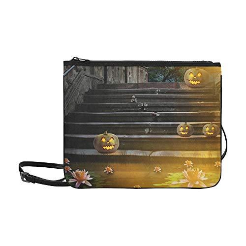 WYYWCY Halloween Pumpkins Yard Alte Steintreppe Benutzerdefinierte hochwertige Nylon Slim Clutch Crossbody Tasche Umhängetasche