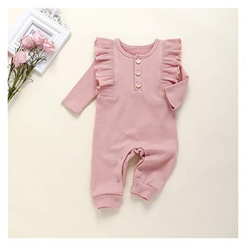 Youpin Traje de una pieza de algodón a rayas de punto para bebé, ropa de bebé, ropa de recién nacido, mono de manga larga (color: rosa, talla de niño: 80)