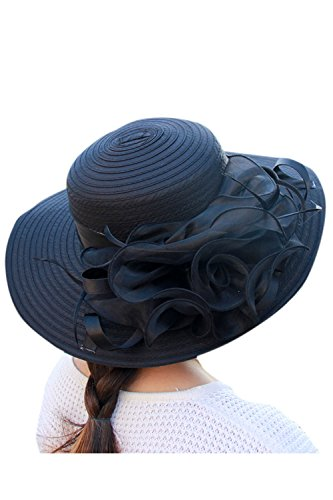 Zonsaoja La Mujer del Kentucky Derby Sombrero Vestido Elegante Iglesia Iglesia Sol Editor Black One Size