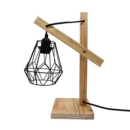 Rebecca Mobili Lampadaire en Style Scandinave, Lampe a Poser de Chevet Marron Clair pour Chambre a Coucher Salon, en Bois, Max 25 W E14 - Cable 150 cm - 38 x 26 x 15 cm (HxLxL) - Art. RE6264