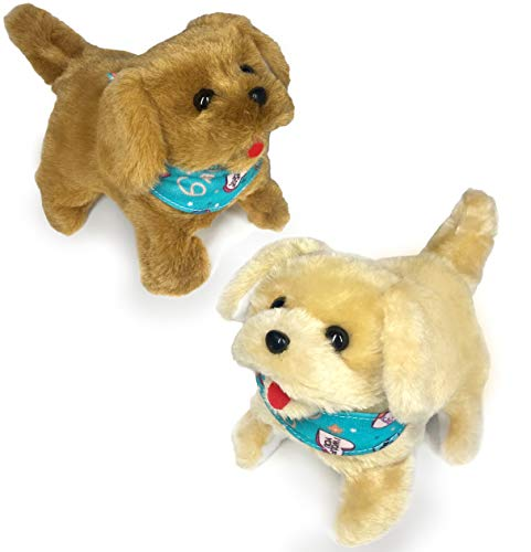 Haktoys Flip Over Puppy Battery Operated Plush Dogs That Somersault Walk Sit and Bark - 2 Premium Quality Toy Puppies for Animal and Pet Loving Toddlers & Kids