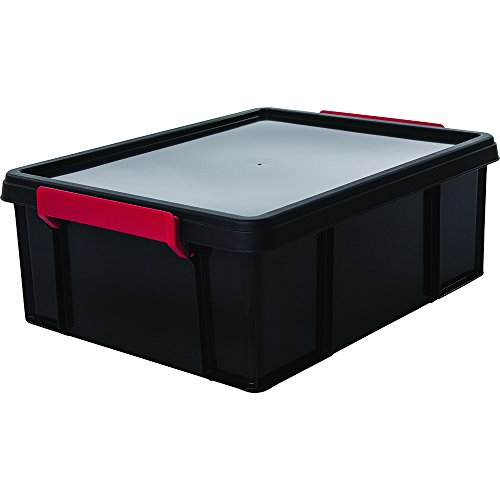 Iris Ohyama, Boîte de Rangement / Bac en Plastique avec Couvercle - Multi Box - MBX-18, Plastique, Noir/Rouge / Transparent, 18 L, 34,8 x 45,3 x 16,5 cm