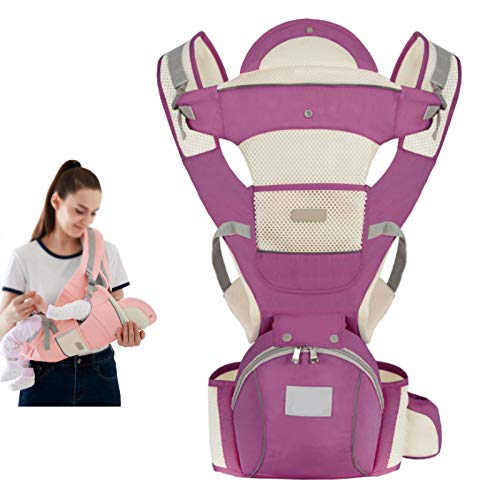 HTTIB Baby Carrier for Newborns and Toddlers,Infantino Go Forward Evolved Carrier - Ergonomic Face-in and Face-Out, Front and Back Carry,Four Seasons Universal Breathable (Color : Purple B)