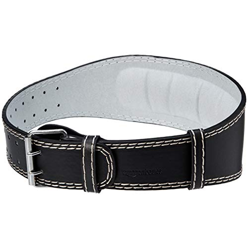 AmazonBasics 4 Inch Wide Padded Weight Lifting Belt - Medium, Black