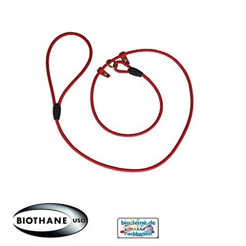 Retrieverleine 2m aus runder BioThane - Moxonleine mit Zugstopp, Wasserabweisende Leine, Hundeleine mit Halsband für Retriever, 8mm dick, 2m lang, Orange