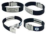 Silicone Sport Medical Alert ID Bracelet - Black (Incl. 6 Lines of Custom Engraving). Choose Your Color!