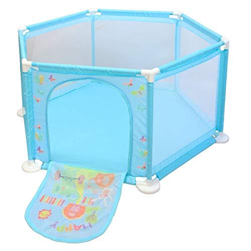 deAO Baby- und Kleinkinder Laufstall und Bällebad-Set mit 50 bunten Bällen für den Innenbereich (BLAU Hexagon)