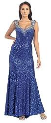 Royal Blue Prom Sequins Long Dress Formal