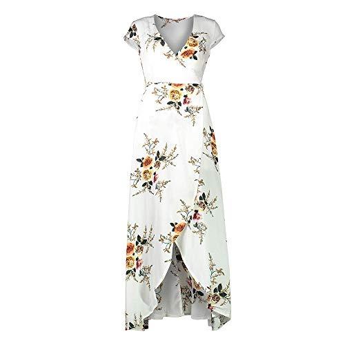 Vestidos de traje de baño Vestidos florales vintage para mujer Vestido ajustado de manga corta con cuello en V para encubrimiento de traje de baño de fiesta en la playa (Color: Blanco, Talla: M)