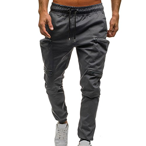 UJUNAOR Mann Jogger Cargo Herren Chino Jeans Hose Slim Fit Herren Stretch Freizeithose Militär Hose Army(Grau,EU 44/CN M)