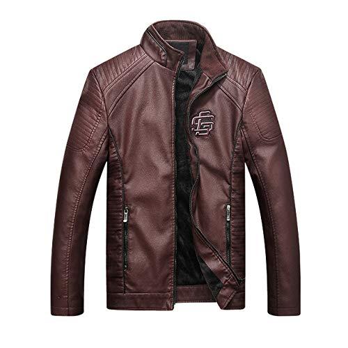 Loeay Mens Faux Cuir Daim Vestes Mode Casual Slim fit Locomotive Vestes d'hiver Moto/Moto vêtements Coupe-Vent Manteaux vêtements Marron l