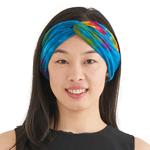 CHARM Womens Tie Dye Headband - Fashion Turban Headwrap Hippy Yoga Hairband Twist Knot Festival Hair Band