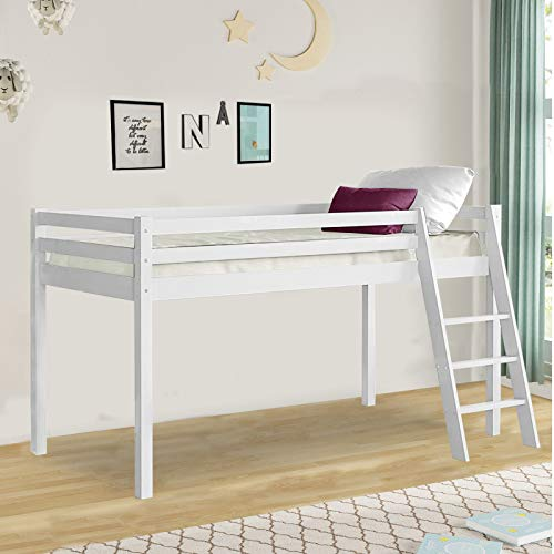 Bunk Beds For Kids Loft Mid Sleeper Bunk Bed 3 Feet Single Bed Frame Solid Grey Wooden Bunk Bed Frame Bedroom Home Sleep For Kids/Adult Children Cabin Bed With Stairs (White)