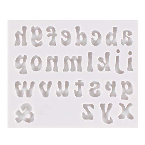 DUBENS Kleinbuchstaben Kunst Buchstaben Silikonformen, Pan Muffin Tassen Formen Schokolade Keks Eiswürfel Tablett DIY Formen Gelee, Schmuck, Gebäck, Süßigkeiten