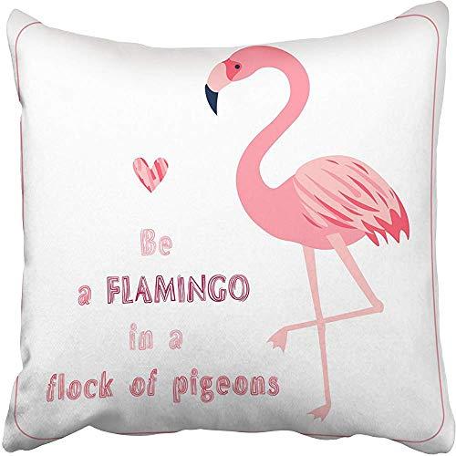 SSHELEY Kissenbezüge Hüllen mit hellem Flamingovogel und positiver Aufschrift Seien Sie in der Herde von Tauben auf Kissenbezügen