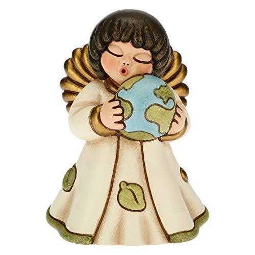 THUN - Soprammobile Angelo Che Abbraccia Il Mondo - Accessori per la Casa da Collezionare - Formato Piccolo - Ceramica - 7,9 x 7,5 x 11,3 h cm