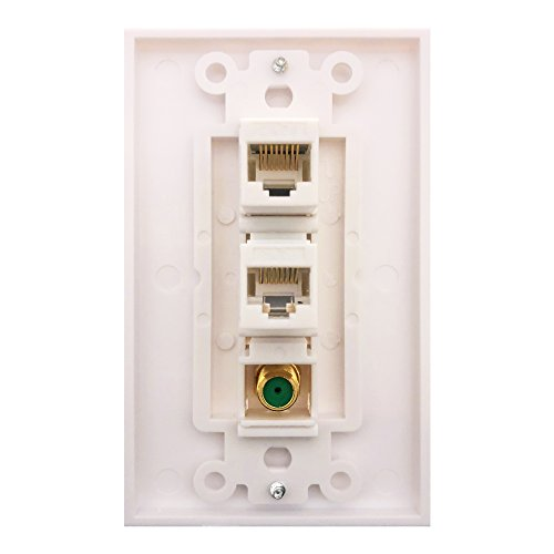 Cat6 Coax 1 Gang Wall Plate,Yomyrayhu,2 x Cat6 Female to Female RJ45 Ethernet,1 x 3Ghz Brass Plated with Gold F81 Coax (2RJ45+F)
