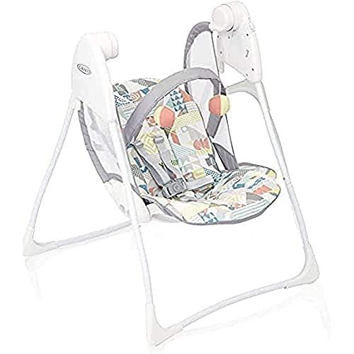 GRACO Baby Delight elektrische Babyschaukel, ab Geburt bis 9 kg (ca. 9 Monate), Babywippe elektrisch mit Liegefunktion, Spielbogen, leicht, klappbar, elektrische Schaukel mit Batterie, Patchwork