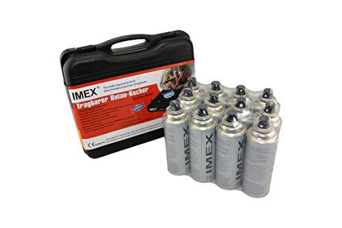 i-mex IMEX Camping Gaskocher Set Butan-Kocher Klein im Tragekoffer mit 12 Gaskartuschen