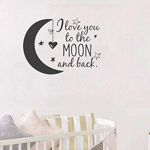 WERWN Couple romanceWall Sticker Decal Children Nursery Room Vinyl Wall Stickers I Love You to the Moon and Back Stars Heart Wallpaper DIY 42 * 60cm