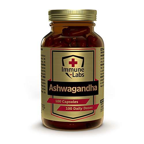 Immune Labs Ashwagandha Hochdosiert - 100 Tabletten - Beruhigungsmittel Mensch - Immunsystem Stärken Erwachsene - Kapseln - Vitamine, Mineralien & Ergänzungsmittel - Premium Glasverpackung