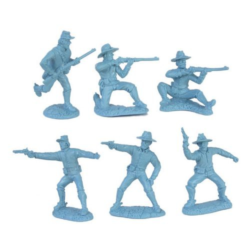 Toy Soldiers of San Diego Civil War Dismounted Cavalry Plastic Army Men: 12 Light Blue 54mm Figures - 1:32 Scale by