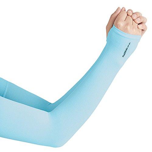 Tentock Unisex UV-Schutz Kühlung Atmungsaktive Armstulpen UPF 50+ Coole Sporthandschuhe zum Fahren Radfahren Laufen Angeln(Blau)