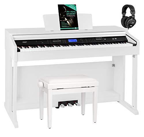 FunKey DP-2688A WM Digitalpiano Set - 88 anschlagsdynamische Tasten - Hammermechanik - 128-fach polyphon - 360 Sounds - 160 Styles - Spar-Set inkl. Klavierbank, Kopfhörer & Schule - weiß matt