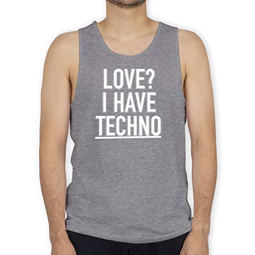 Shirtracer Festival - Love? I Have Techno - L - Grau meliert - Tank Top - BCTM072 - Tanktop Herren und Tank-Top Männer