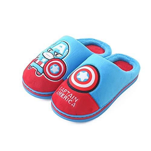 Zapatillas de dibujos animados de Disney para niños, zapatillas de algodón cómodas y cómodas de invierno, zapatos de piel artificiales para niños,Sky blue,190