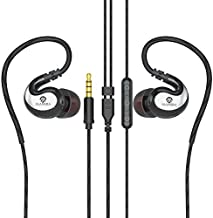 JAAMIRA Sports Wired Earbuds in-Ear Earphones with Microphone &Volume Control -Bass &Noise Cancelling Over Ear Headphones with 3.5mm Jack -for Android Phone iPhone Computer Gaming Workout IPX4 Black