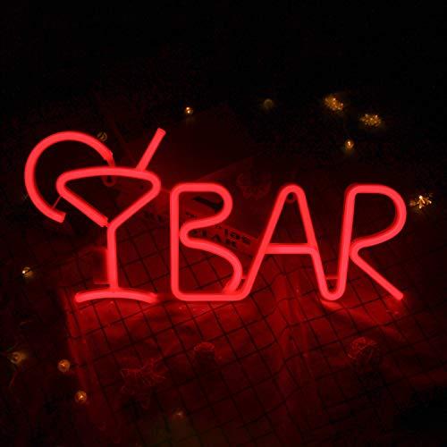BAR Letreros de neón Luces de neón LED con control remoto Letra del alfabeto Letrero BAR Decoración para letrero de barra, decoración de la pared del club nocturno 21.6