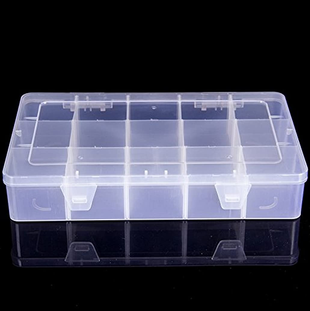DJUNXYAN Large Transparent Thick Hard 15 Grids Adjustable Compartment Slot Plastic Hobby Craft Storage Box Case Raft Storage Box Organizer with Snap-Lock Tray Container (L 15 Girds, White6)