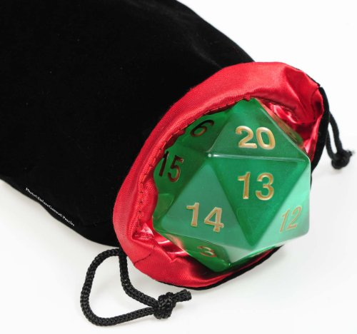 Deluxe Games and Puzzles Big Jumbo 20-Sided, (D20), GREEN Transparent, 55mm Dice _ with black velvet pouch