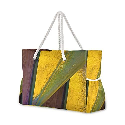 Strandtasche Pure Gold Pool Tote Bag Schultertasche Seil Griffe Reißverschluss Große Kapazität Taschen für Reisen Strand Gym