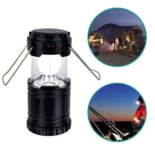 Lámpara de camping solar LED   Linterna LED recargable   Lámparas solares de exterior LED carga USB son útiles accesorios para camping, caravana, pesca, coche 2 modos de luz (negro) ✅