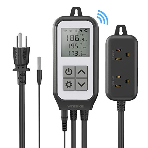 Wifi Digital Temperature Controller Thermostat Heating and Cooling, Works with Alexa and Google Assistant, Wireless Remote Control Outlet for Home Brewing Fermentation Breeding Incubation Greenhouse