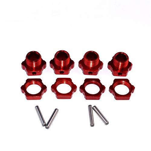 HONG YI-HAT 4 juegos 8068 17 mm adaptador de cubo hexagonal de rueda adecuado para 9116 08427 1/8 2.4G 4WD Rc piezas de repuesto (color: rojo)