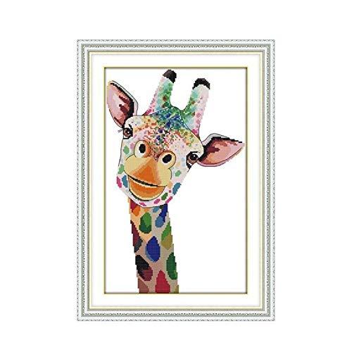Mrjg Solar Giraffe Kreuzstichpackung 14ct 11ct Zahl gedruckt Leinwand Stiche Stickerei DIY handgemachte Hand gartenbeleuchtung (Color : 14ct unprint Canvas)