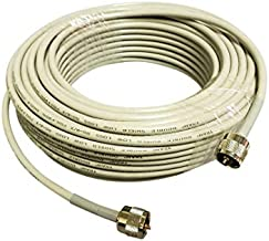 Tram Browning RG8X Double Shielded CB, Ham Radio 50 Ohm Base Station Coax 50 Foot Gold Plated PL-259 Tip