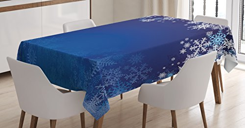 "Ambesonne Christmas Tablecloth, Ornamental White Snowflakes in Various Styles Cold Winter Season, Dining Room Kitchen Rectangular Table Cover, 60"" X 84"", Blue Navy"