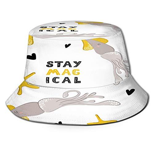 PUIO Sombrero de Pesca,Patrn Transparente Vector con Calamar Lindo Dibujos Animados,Senderismo para Hombres y Mujeres al Aire Libre Sombrero de Cubo Sombrero para el Sol