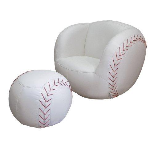 ORE International Baseball Vinyl Swivel Chair and Ottoman