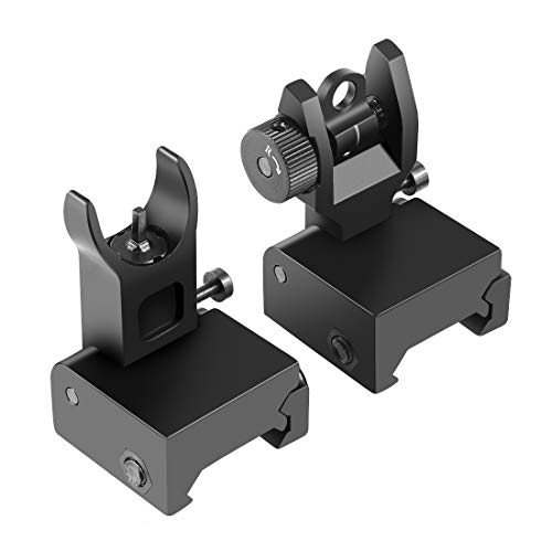 OTW Flip Up Iron Sights Flip Up Front Sight + Back Up Rear Sight Mounts Set for Gun Rifle Handgun Airsoft