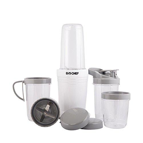 BioChef BCNB Mini Standmixer, BPA freier Tritan Behälter/Becher, Edelstahl Messer & weißes Gehäuse aus Plastik, 700 milliliters