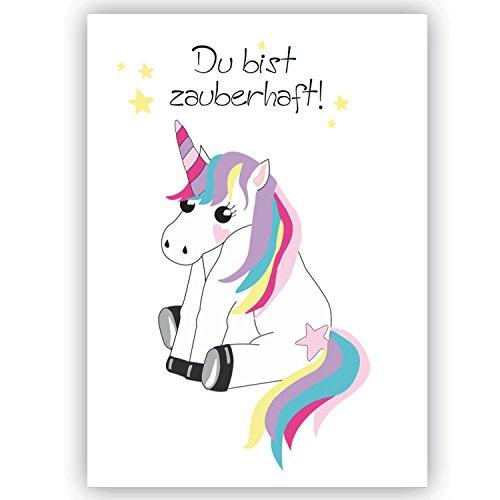 Einhorn Unicorn Postkarte Spruch Du bist zauberhaft, Freundschaft, Liebe, Büro, Einhorn-Karte, Glückwunsch,