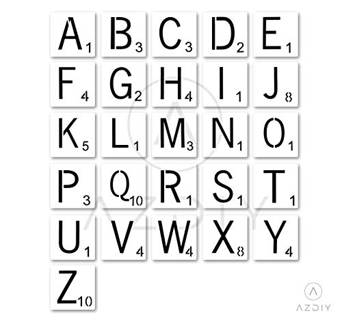 3 Inch Scrabble Letters Stencil Wall Decor Stencils for Painting Signs AZDIY Reusable Title Stencils for Painting on Wood Laser Cut Painting Stencil for Home Décor & DIY Projects, Family Names