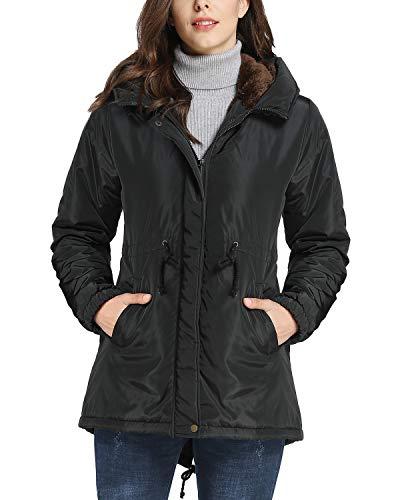 iloveSIA Womens Winter Warm Parka Coat Windbreaker Hooded Jacket Black US 8