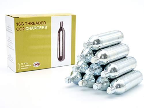 ICO - Cartuchos CO2 16g con Rosca - Compatible con Inflador Bomba CO2 - Permite Inflar Neumáticos de Bicicletas de Montaña Y De Carretera - Pack de 10